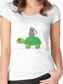Kitty Riding a Turtle Women's Fitted Scoop T-Shirt