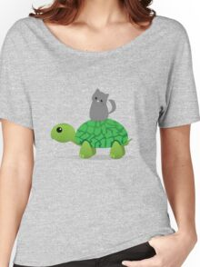 Kitty Riding a Turtle Women's Relaxed Fit T-Shirt