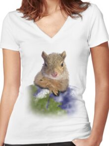 Earth Day Squirrel Women's Fitted V-Neck T-Shirt