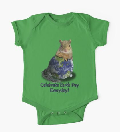 Celebrate Earth Day Everyday Squirrel One Piece - Short Sleeve