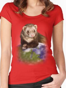 Earth Day Ferret Women's Fitted Scoop T-Shirt