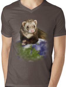 Earth Day Ferret Mens V-Neck T-Shirt
