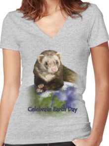 Celebrate Earth Day Ferret Women's Fitted V-Neck T-Shirt