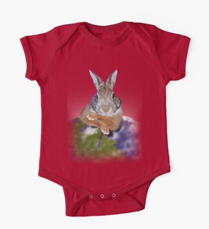 Earth Day Bunny Rabbit One Piece - Short Sleeve
