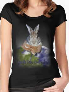Earth Day Everyday Bunny Women's Fitted Scoop T-Shirt