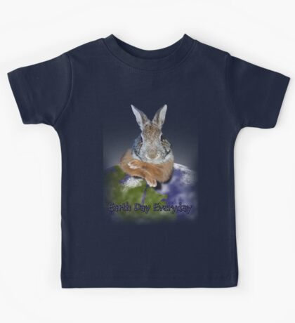Earth Day Everyday Bunny Kids Tee