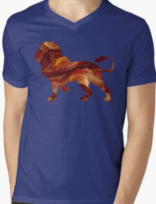 Lion Bacon Mens V-Neck T-Shirt