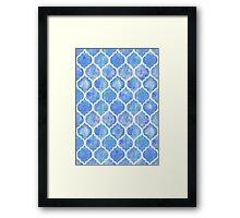 Cornflower Blue Moroccan Watercolor Pattern Framed Print