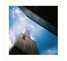 The helicopter the ledge and the sky Art Print