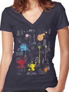 History of Art (dark tee, w/ paint splashes) Women's Fitted V-Neck T-Shirt
