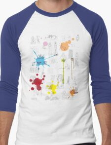 History of Art (dark tee, w/ paint splashes) Men's Baseball ¾ T-Shirt