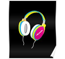 HOUSE MUSIC HEADPHONES (for dark color shirts) Poster