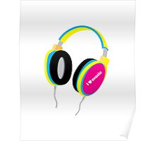 HOUSE MUSIC HEADPHONES (for light color shirts) Poster
