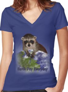 Earth Day Everyday Raccoon Women's Fitted V-Neck T-Shirt