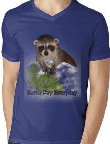 Earth Day Everyday Raccoon Mens V-Neck T-Shirt