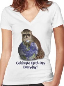Celebrate Earth Day Everyday Raccoon Women's Fitted V-Neck T-Shirt