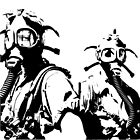 Girls in Gas Masks in black by dianegaddis
