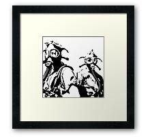 Girls in Gas Masks in black Framed Print