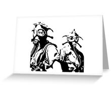 Girls in Gas Masks in black Greeting Card
