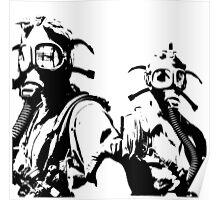 Girls in Gas Masks in black Poster