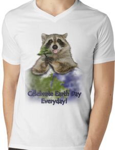 Celebrate Earth Day Everyday Raccoon Mens V-Neck T-Shirt