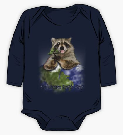 Celebrate Earth Day Raccoon One Piece - Long Sleeve