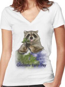 Celebrate Earth Day Raccoon Women's Fitted V-Neck T-Shirt