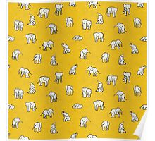 Indian Baby Elephants Yellow Poster