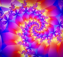 Multi-Coloured Spiral Fractal by Kitty Bitty
