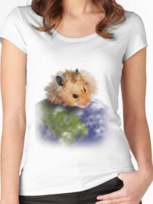 Earth Day Hamster Women's Fitted Scoop T-Shirt