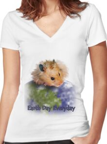 Earth Day Everyday Hamster Women's Fitted V-Neck T-Shirt