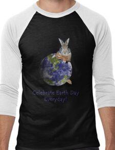 Celebrate Earth Day Everyday Bunny Men's Baseball ¾ T-Shirt
