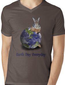 Earth Day Everyday Bunny Mens V-Neck T-Shirt