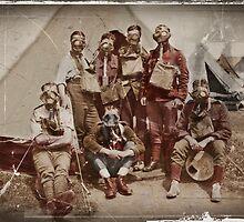 WWI British in Their Gas Masks by diane  addis