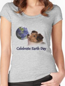 Celebrate Earth Day Sheltie Puppy Women's Fitted Scoop T-Shirt