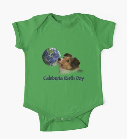 Celebrate Earth Day Sheltie Puppy One Piece - Short Sleeve