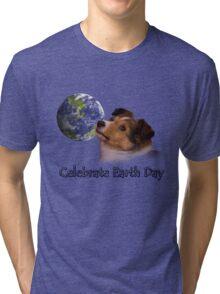 Celebrate Earth Day Sheltie Puppy Tri-blend T-Shirt
