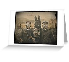 Soldiers and Mule Wear Gas Masks Greeting Card