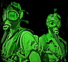 Neon Green Gas Mask Girls by dianegaddis