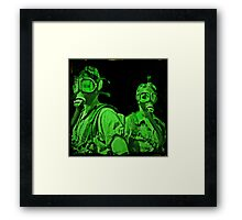 Neon Green Gas Mask Girls Framed Print