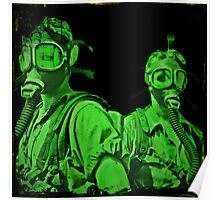 Neon Green Gas Mask Girls Poster