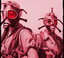 Hot Pink Soldier Girls in Respirators by dianegaddis