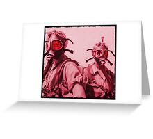Hot Pink Soldier Girls in Respirators Greeting Card