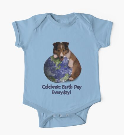 Celebrate Earth Day Everyday Sheltie One Piece - Short Sleeve