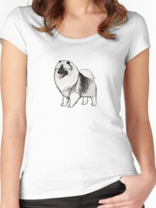 Keeshond Cartoon Dog Women's Fitted Scoop T-Shirt