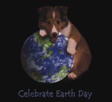 Celebrate Earth Day Sheltie Puppy Kids Tee