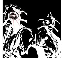 Star in Her Eye Gas Masks Photographic Print