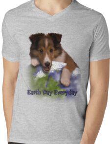 Earth Day Everyday Sheltie Puppy Mens V-Neck T-Shirt