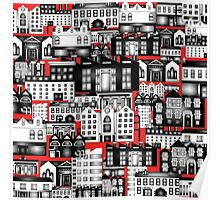 SPLASHYARTYSTORY - ALL ABOUT BUILDINGS red Poster