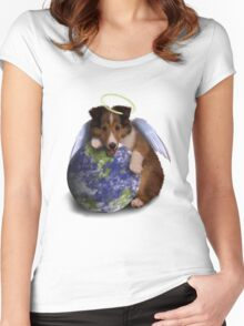 Earth Day Angel Sheltie Women's Fitted Scoop T-Shirt